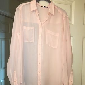 Sheer pale pink oversized blouse